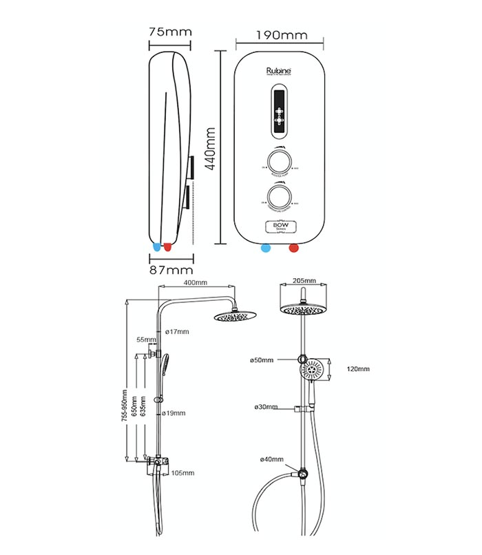 Rubine Instant Water Heater Rwh 2388bhp 2388whp With